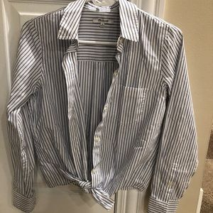 Madewell striped button down with bottom tie